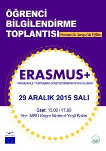Bilgilendirme Toplantısı Afişi ERASMUS 2015