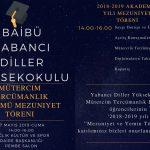 Tören Davetiye 150x150 - BAİBÜ 2018-2019 Yabancı Diller Yüksekokulu Mütercim Tercümanlık Bölümü Mezuniyet Programı