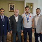 DSC 6397  150x150 - Avrupa Gençler Güreş Şampiyonası'ndan Madalyayla Dönen Abdülvasi Balta'dan Rektör Alişarlı'ya Ziyaret
