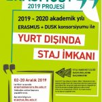 Erasmus DUSK staj 2019 2020 afis 150x150 - Erasmus+ Dusk Konsorsiyumu Öğrenci Staj Hareketliliği Başvuruları I.Çağrı (2019-2020)