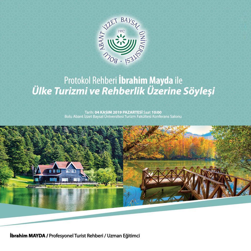 Etkinlik Afişi 4 Kasım 2019 - Ülke Turizmi ve Rehberlik / Söyleşi