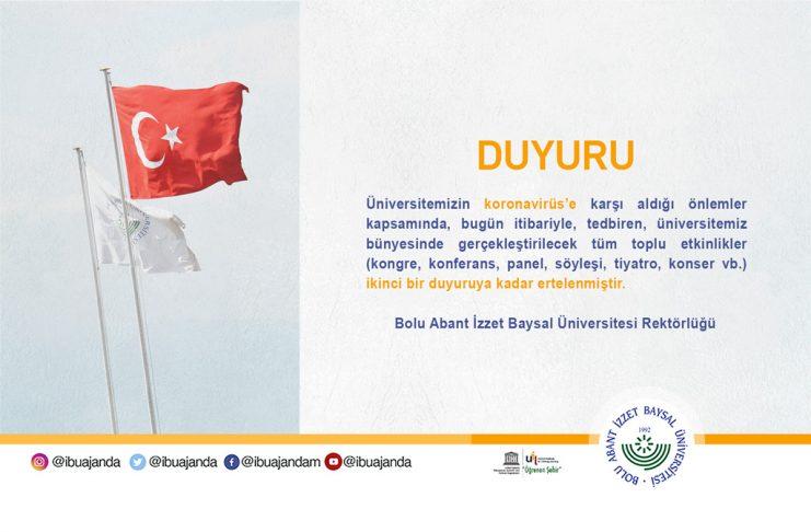 """korono virus duyuru banner dyr 741x486 - AİBÜ'de """"Son Milli Mücadele 15 Temmuz"""" Programı…"""